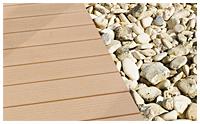 Le bois composite WEX se marie très bien avec les autres surfaces minérales ou végétales